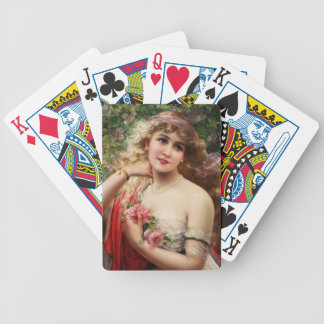 Young Lady With Roses by Emile Vernon Bicycle Playing Cards