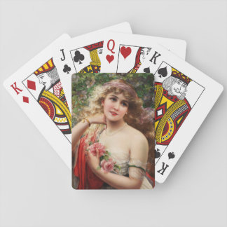 Young Lady With Roses by Emile Vernon Card Decks