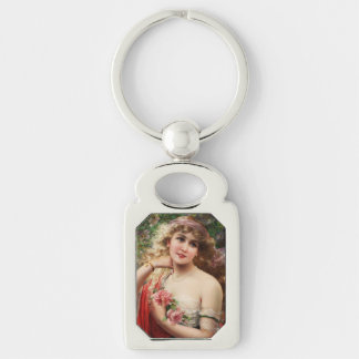 Young Lady With Roses by Emile Vernon Keychain