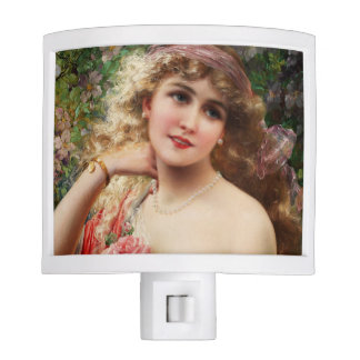 Young Lady With Roses by Emile Vernon Night Light