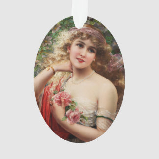 Young Lady With Roses by Emile Vernon Ornament