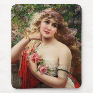 Young Lady With Roses Mouse Pad