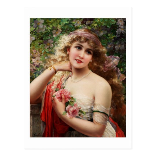 Young Lady With Roses Postcard