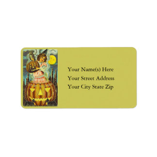 Young Lass With Many Jack O Lanterns Address Label