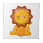 Young Lion Cartoon Character Small Square Tile