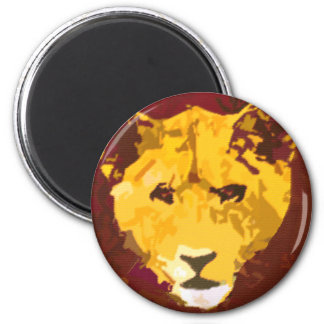 Young Lion Face 2 Inch Round Magnet