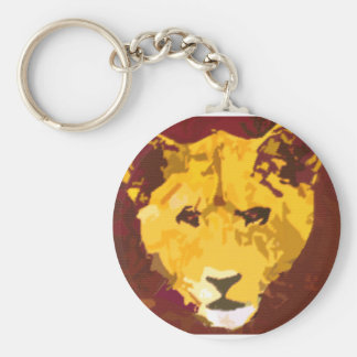 Young Lion Face Basic Round Button Keychain
