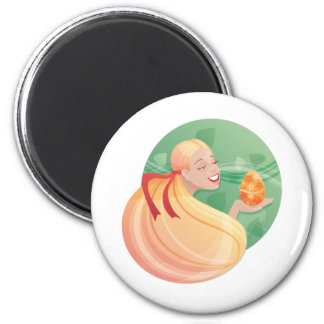 young long hair girl Easter 2 Inch Round Magnet