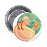 young long hair girl Easter Buttons