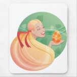 young long hair girl Easter Mousepads