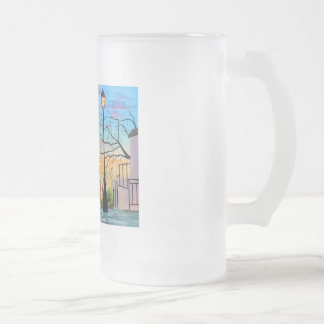 """Young Love"" kids in Paris landscape painting Frosted Glass Beer Mug"