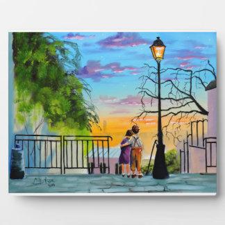 """""""Young Love"""" kids in Paris landscape painting Plaque"""