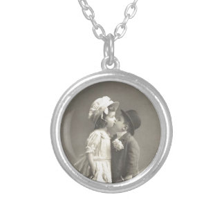 Young Love Photo c 1920s Silver Plated Necklace