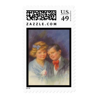 Young Love, Vintage Girl & Boy Valentine Portrait Postage