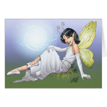 girl, magic, magical, elf, fairy, faerie, comic, art, al rio, anntennae, butterfly, wings, angel, dress, wizards, witches, Card with custom graphic design