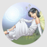 Young Magical Elf Fairy by Al Rio Round Stickers