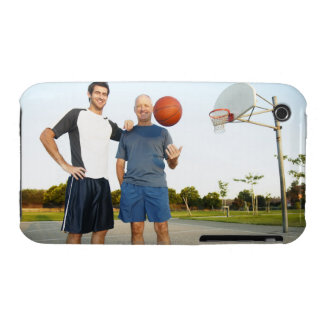 Young man and senior man on outdoor basketball iPhone 3 Case-Mate cases