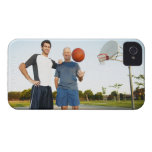 Young man and senior man on outdoor basketball iPhone 4 case