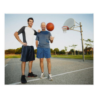 Young man and senior man on outdoor basketball poster
