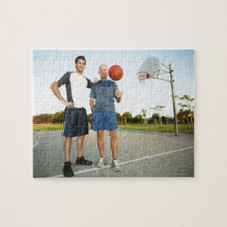 Young man and senior man on outdoor basketball jigsaw puzzle