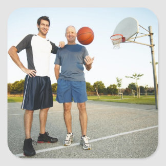 Young man and senior man on outdoor basketball square sticker
