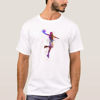 young man basketball player one hand slam dunk playera