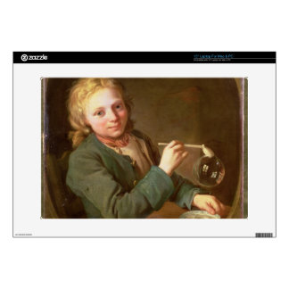 "Young Man Blowing Bubbles from a Clay Pipe, 1766 15"" Laptop Decal"
