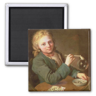 Young Man Blowing Bubbles from a Clay Pipe, 1766 2 Inch Square Magnet