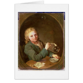 Young Man Blowing Bubbles from a Clay Pipe, 1766 Card