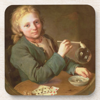 Young Man Blowing Bubbles from a Clay Pipe, 1766 Coaster