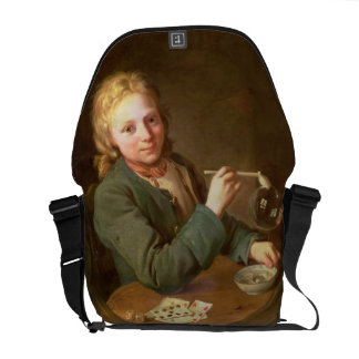 Young Man Blowing Bubbles from a Clay Pipe, 1766 Messenger Bag