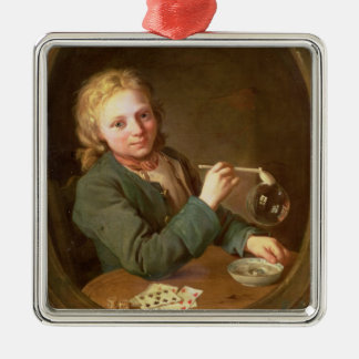 Young Man Blowing Bubbles from a Clay Pipe, 1766 Metal Ornament