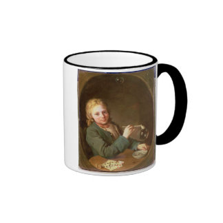Young Man Blowing Bubbles from a Clay Pipe, 1766 Mugs