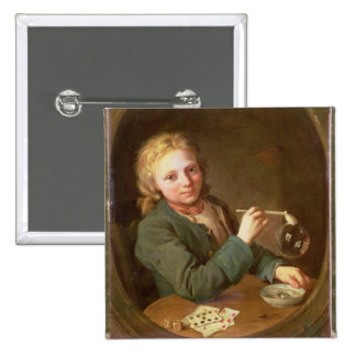 Young Man Blowing Bubbles from a Clay Pipe, 1766 Pinback Button