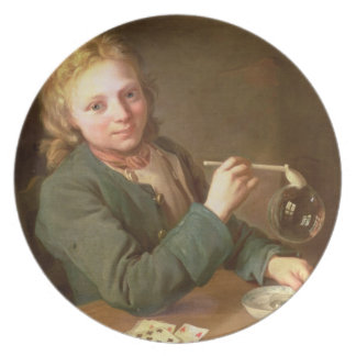 Young Man Blowing Bubbles from a Clay Pipe, 1766 Plate