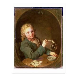 Young Man Blowing Bubbles from a Clay Pipe, 1766 Postcard