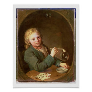 Young Man Blowing Bubbles from a Clay Pipe, 1766 Poster