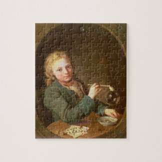 Young Man Blowing Bubbles from a Clay Pipe, 1766 Puzzle