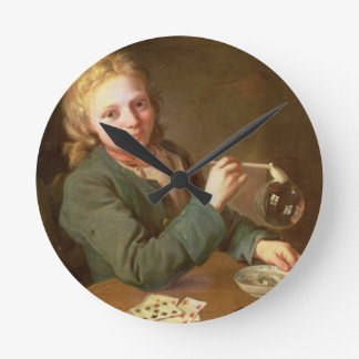 Young Man Blowing Bubbles from a Clay Pipe, 1766 Round Clock
