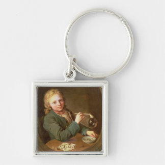 Young Man Blowing Bubbles from a Clay Pipe, 1766 Silver-Colored Square Keychain