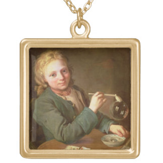 Young Man Blowing Bubbles from a Clay Pipe, 1766 Square Pendant Necklace