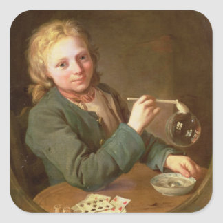 Young Man Blowing Bubbles from a Clay Pipe, 1766 Square Sticker