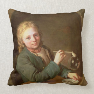 Young Man Blowing Bubbles from a Clay Pipe, 1766 Throw Pillow