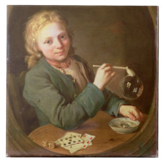 Young Man Blowing Bubbles from a Clay Pipe, 1766 Tile