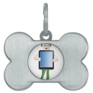 Young man cartoon holding i-pad pet tag