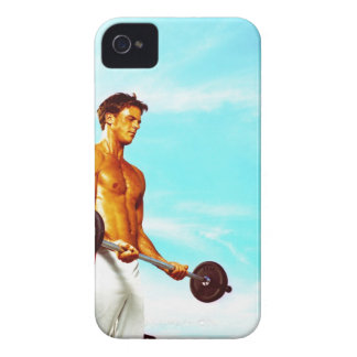 Young man exercising with barbells iPhone 4 Case-Mate case