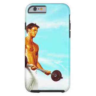 Young man exercising with barbells tough iPhone 6 case