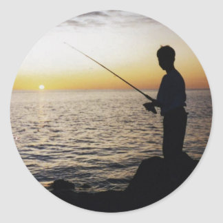 Young Man Fishing in the sunset off Anna Maria Is. Classic Round Sticker