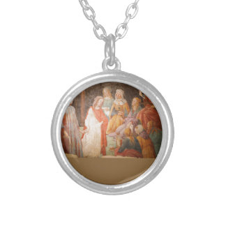 Young Man Greeted by Seven Liberal Arts by Sandro Round Pendant Necklace