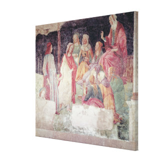Young Man Greeted by Seven Liberal Arts Canvas Print